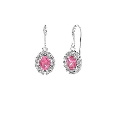 Picture of Drop earrings Jorinda 2 375 white gold pink sapphire 7x5 mm