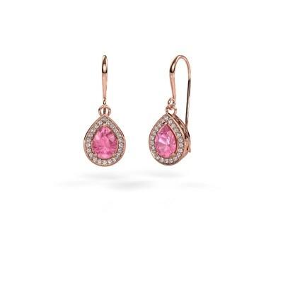 Foto van Oorhangers Beverlee 1 375 rosé goud roze saffier 7x5 mm