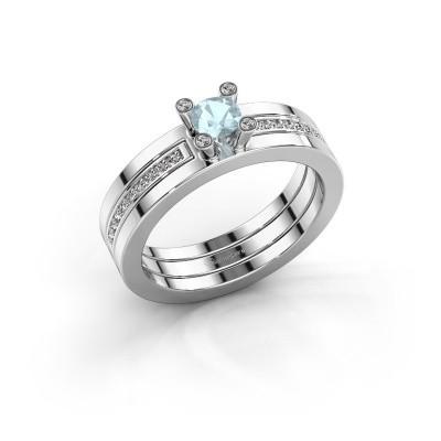 Foto van Ring Alisha 925 zilver aquamarijn 4 mm