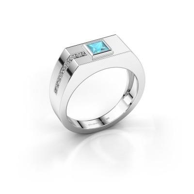 Foto van Heren ring Robertus 1 950 platina blauw topaas 4 mm