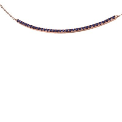 Picture of Bar necklace Simona 375 rose gold sapphire 1.5 mm