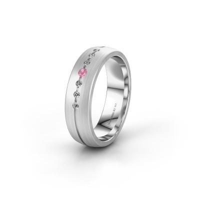 Trouwring WH0162L25A 950 platina roze saffier ±5x1.7 mm