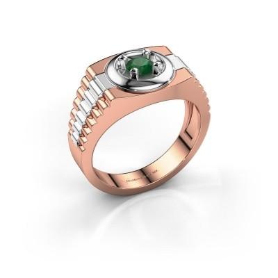 Foto van Rolex stijl ring Edward 585 rosé goud smaragd 4.7 mm