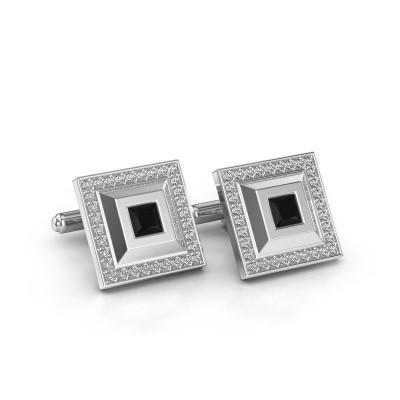 Foto van Manchetknopen Joris 925 zilver zwarte diamant 1.14 crt