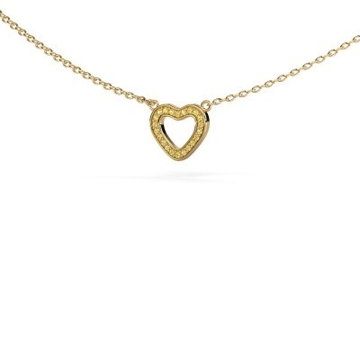 Picture of Pendant Heart 4 585 gold yellow sapphire 0.8 mm