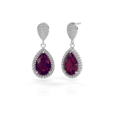 Picture of Drop earrings Cheree 2 585 white gold rhodolite 12x8 mm