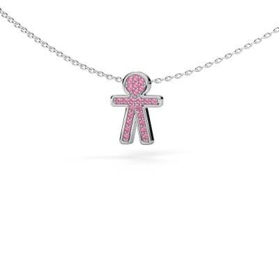 Bild von Anhänger Boy 925 Silber Pink Saphir 1 mm