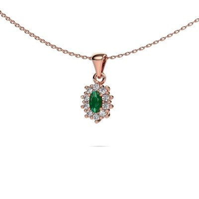 Picture of Necklace Leesa 375 rose gold emerald 6x4 mm