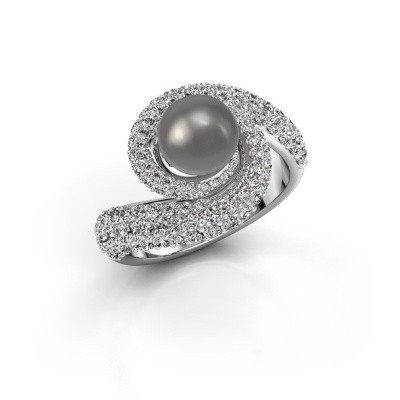 Foto van Ring Klasina 950 platina grijze parel 7 mm