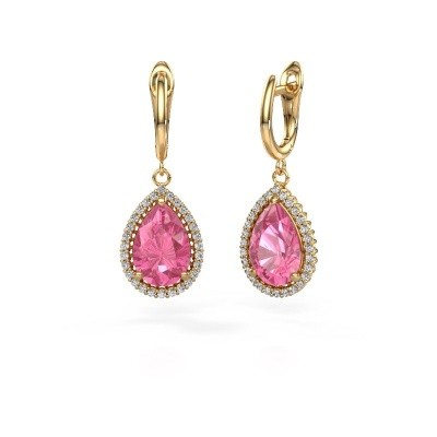 Picture of Drop earrings Hana 1 585 gold pink sapphire 12x8 mm