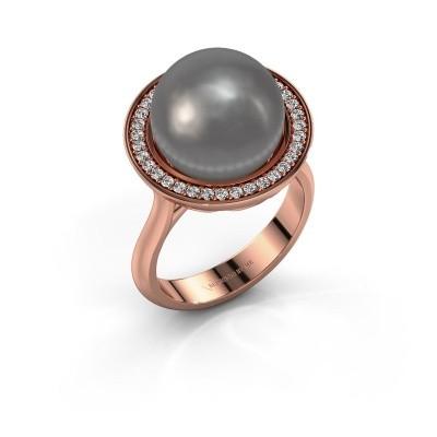 Foto van Ring Grisel 585 rosé goud grijze parel 12 mm