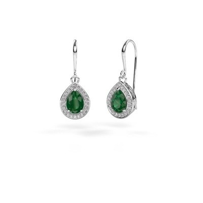 Picture of Drop earrings Beverlee 1 585 white gold emerald 7x5 mm