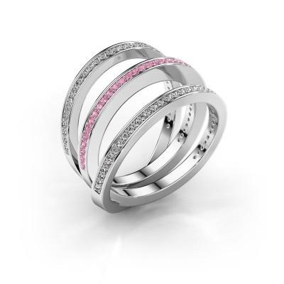 Foto van Ring Jaqueline 585 witgoud roze saffier 1 mm