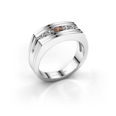 Foto van Heren ring Huub 925 zilver bruine diamant 0.56 crt