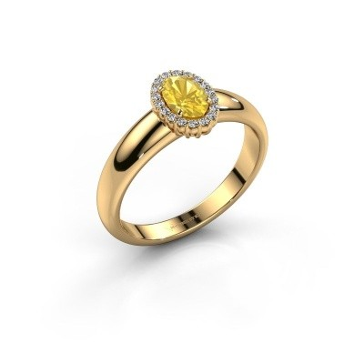 Engagement ring Tamie 750 gold yellow sapphire 6x4 mm