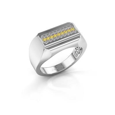 Foto van Heren ring Gerard 950 platina gele saffier 1.4 mm