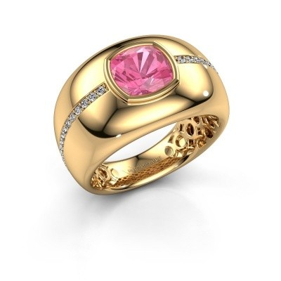 Foto van Ring Sydney 375 goud roze saffier 7.5 mm