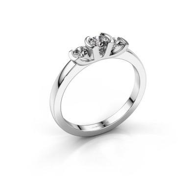 Ring Lucia 585 witgoud diamant 0.40 crt