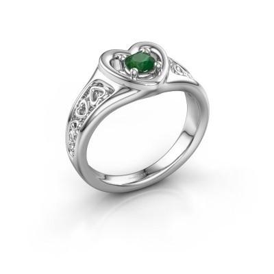 Ring Eura 585 witgoud smaragd 4 mm