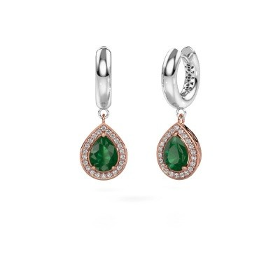 Picture of Drop earrings Barbar 1 585 rose gold emerald 8x6 mm