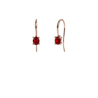Picture of Drop earrings Cleo 375 rose gold ruby 6x4 mm