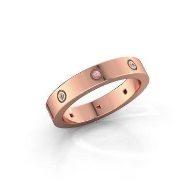 Foto van Ring Carrie 4 375 rosé goud roze saffier 1.1 mm