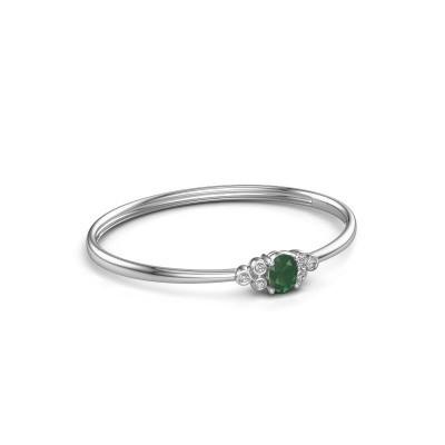 Foto van Slavenarmband Lucy 585 witgoud smaragd 8x6 mm