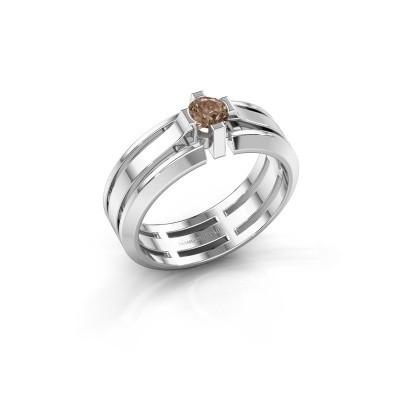 Foto van Heren ring Sem 950 platina bruine diamant 0.40 crt