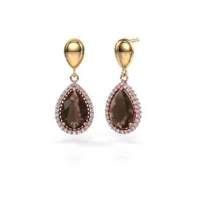 Picture of Drop earrings Cheree 1 585 rose gold smokey quartz 12x8 mm