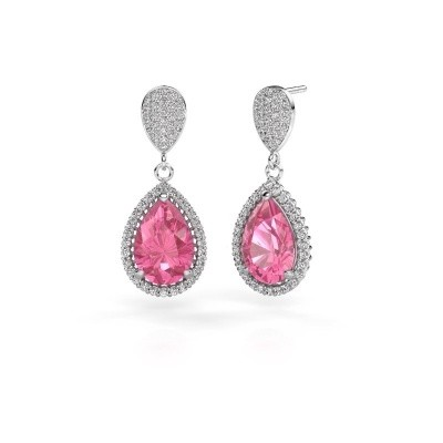 Picture of Drop earrings Cheree 2 585 white gold pink sapphire 12x8 mm
