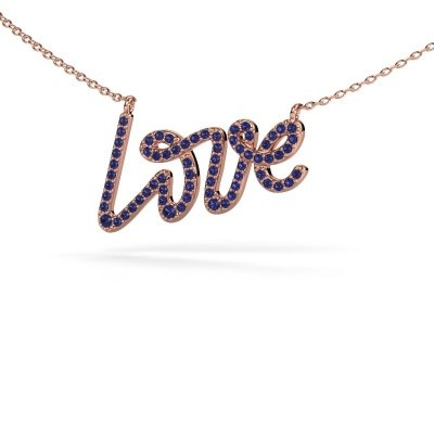 Picture of Pendant Love 375 rose gold sapphire 1 mm