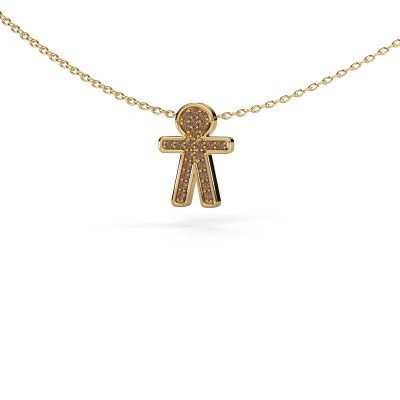 Bild von Anhänger Boy 585 Gold Braun Diamant 0.115 crt