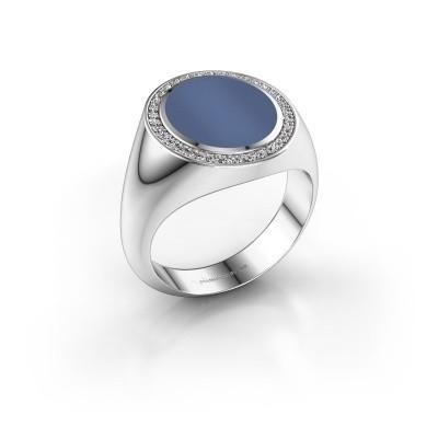 Foto van Zegel ring Adam 3 375 witgoud blauw lagensteen 13x11 mm