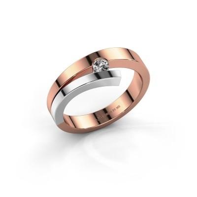 Foto van Ring Rosario 585 rosé goud lab created 0.10 crt