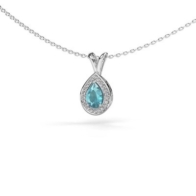 Picture of Necklace Ginger 925 silver blue topaz 6x4 mm