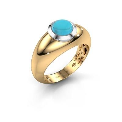 Foto van Ring Sharika 585 goud blauw topaas 6 mm