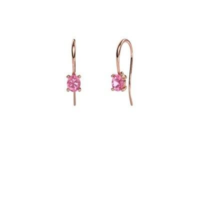 Foto van Oorhangers Cleo 375 rosé goud roze saffier 6x4 mm