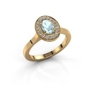 Ring Madelon 1 585 goud aquamarijn 7x5 mm