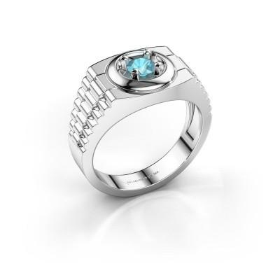 Foto van Rolex stijl ring Edward 585 witgoud blauw topaas 4.7 mm