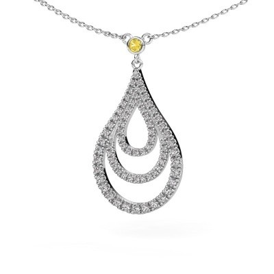 Picture of Pendant Delpha 585 white gold yellow sapphire 1.4 mm