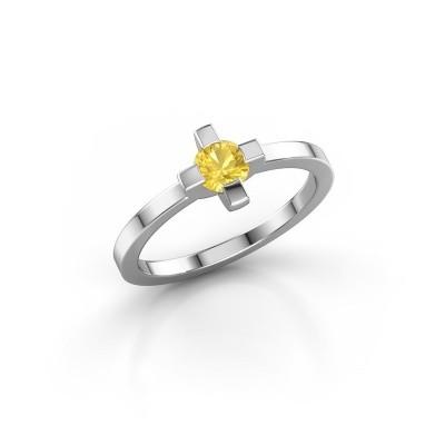 Foto van Ring Therese 925 zilver gele saffier 4.2 mm
