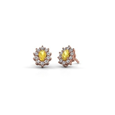 Picture of Earrings Leesa 375 rose gold yellow sapphire 6x4 mm