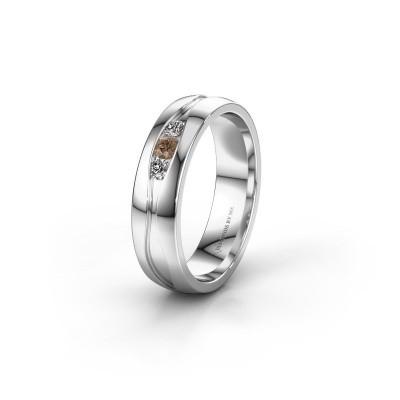 Trouwring WH0172L25A 925 zilver bruine diamant ±5x1.7 mm