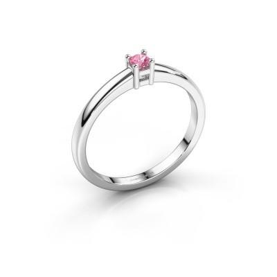 Foto van Promise ring Eline 1 585 witgoud roze saffier 3 mm