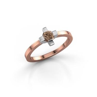Foto van Ring Therese 585 rosé goud bruine diamant 0.30 crt