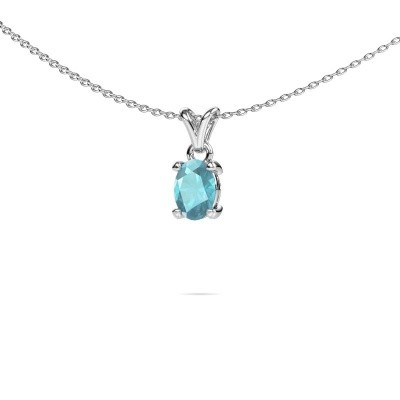 Picture of Necklace Lucy 1 950 platinum blue topaz 7x5 mm