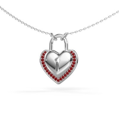 Picture of Necklace Heartlock 925 silver ruby 1 mm