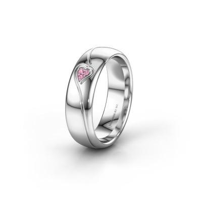 Trouwring WH0168L36AP 950 platina roze saffier ±6x1.7 mm