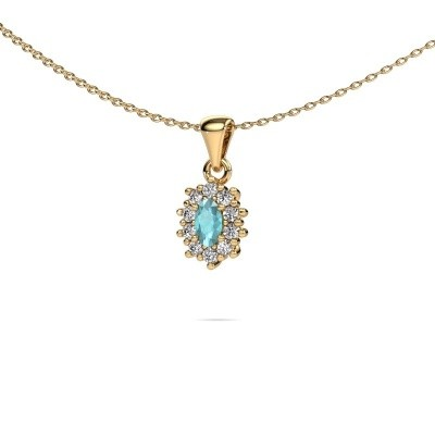 Picture of Necklace Leesa 375 gold blue topaz 6x4 mm
