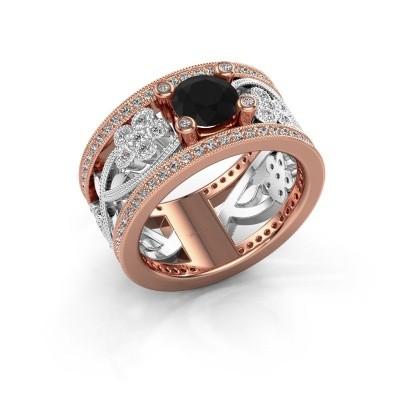 Foto van Ring Severine 585 rosé goud zwarte diamant 1.565 crt